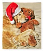 Golden Retriever Dog Christmas Teddy Bear Fleece Blanket