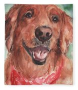 Golden Retriever Dog In Watercolori Fleece Blanket