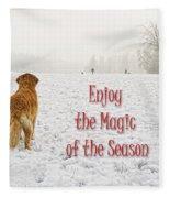 Golden Retriever Dog Magic Of The Season Fleece Blanket