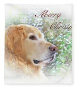 Golden Retriever Dog Merry Christmas Card Fleece Blanket