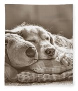 Golden Retriever Dog Sleeping With My Friend Sepia Fleece Blanket