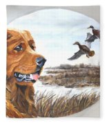 Golden Retriever With Marsh Scene Fleece Blanket