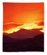 Golden Rocky Mountain Sunset Fleece Blanket