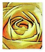Golden Rose Flower Fleece Blanket