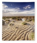 Golden Sand Lines And Seaweed Rocks Of Norfolk Fleece Blanket