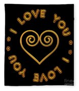 Golden Scrolled Heart And I Love You Fleece Blanket