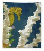 Golden Seahorse Fleece Blanket