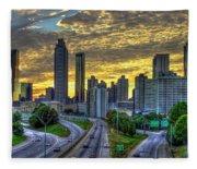 Golden Skies Atlanta Downtown Sunset Cityscape Art Fleece Blanket