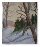 Golden Sky In The Snow Fleece Blanket