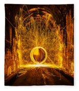 Golden Spinning Sphere Fleece Blanket