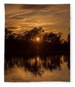 Golden Sunburst At The Lake New Jersey  Fleece Blanket