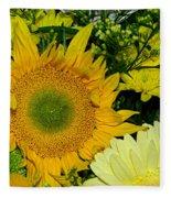 Golden Sunflower Yellow Bouquet By Kaye Menner Fleece Blanket