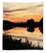 Golden Sunset Reflection Fleece Blanket