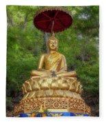 Golden Thai Buddha Fleece Blanket