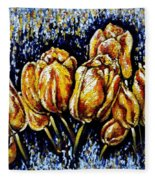 Golden Tulips Fleece Blanket