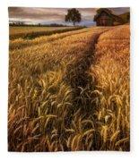 Golden Waves Of Grain Fleece Blanket