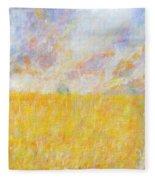 Golden Wheat Field Fleece Blanket