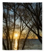 Golden Willow Sunrise - Greeting A Bright Day On The Lake Fleece Blanket