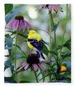 Goldfinch Visiting Coneflower Fleece Blanket