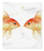 Goldfish Love Watercolor Fleece Blanket