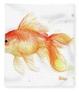 Goldfish Painting Watercolor Fleece Blanket