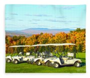 Golf Carts On Vermont Golf Course Fleece Blanket