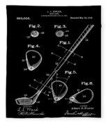 Golf Club Patent 1910 Black Fleece Blanket