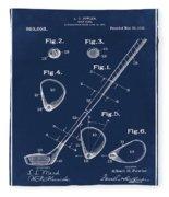 Golf Club Patent 1910 Blue Fleece Blanket