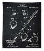 Golf Club Patent 1910 Chalk Fleece Blanket