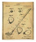 Golf Club Patent 1910 Sepia Fleece Blanket