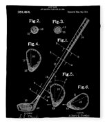 Golf Club Patent Drawing Black Fleece Blanket