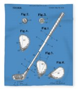 Golf Club Patent Drawing Blue Fleece Blanket