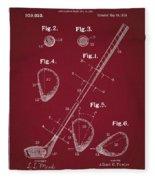 Golf Club Patent Drawing Dark Red Fleece Blanket