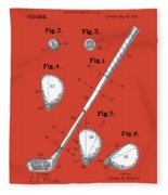 Golf Club Patent Drawing Red Fleece Blanket