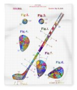 Golf Club Patent Drawing Watercolor Fleece Blanket