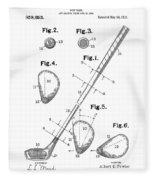 Golf Club Patent Drawing White Fleece Blanket