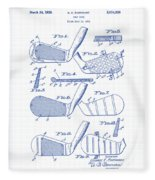 Golf Clubs Patent Drawing Fleece Blanket