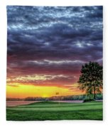 Golf Sunset Number 4 The Landing Reynolds Plantation Golf Art Fleece Blanket