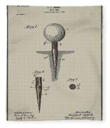 Golf Tee Patent 1899 Aged Gray Fleece Blanket