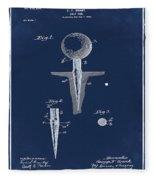 Golf Tee Patent 1899 Blue Fleece Blanket