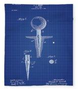 Golf Tee Patent 1899 Blueprint Fleece Blanket