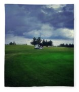 Golfing Before The Rain Golf Cart 01 Fleece Blanket