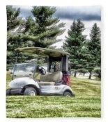 Golfing Before The Rain Golf Cart 03 Fleece Blanket