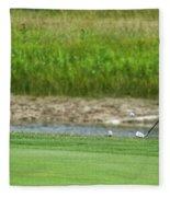 Golfing Chipping The Ball In Flight Fleece Blanket