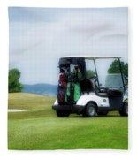 Golfing Golf Cart 03 Fleece Blanket