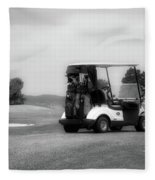 Golfing Golf Cart 06 Bw Fleece Blanket