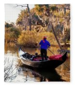 Gondola In City Park Lagoon New Orleans Fleece Blanket