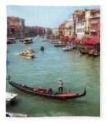 Gondola On The Grand Canal Fleece Blanket