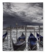 Gondolas In Front Of San Giorgio Island Fleece Blanket
