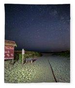 Good Harbor Beach Sign Under The Stars And Milky Way Fleece Blanket